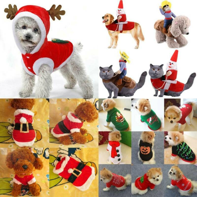 UK Pet Cat Dog Christmas Outfit Costumes Sweater Hoodie Dress Xmas Clothes Coat 2