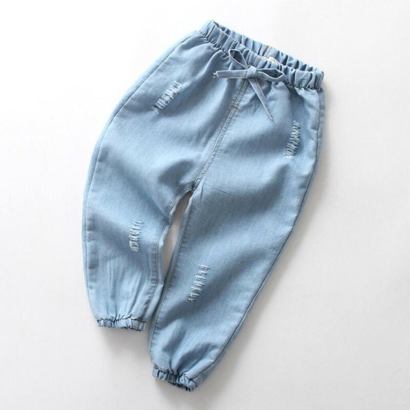 Children Baby Boy Girl Cartoon Hole Denim Long Pants Elastic Waist Jeans Clothes 4