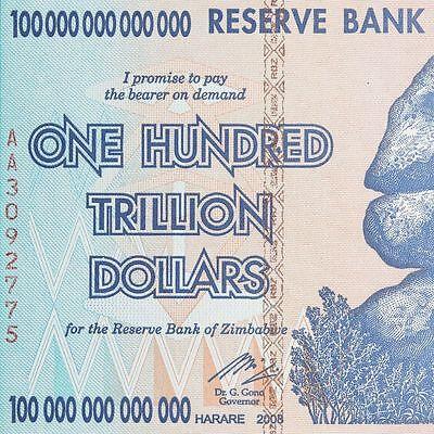Zimbabwe 100 Trillion Dollar Note AA 2008 series UNCIRCULATED 2