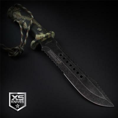 "Tactical STONEWASHED Combat CAMO Bowie Survival FIRE STARTER Hunting Knife 12"" 5"