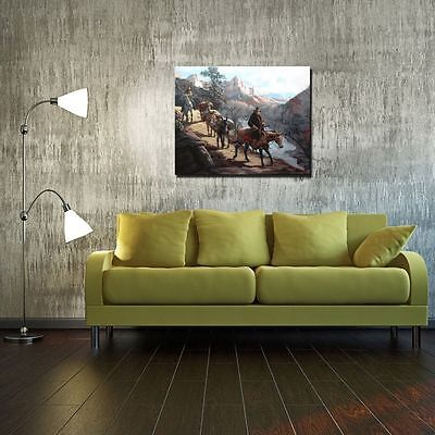 "HD Art Canvas Print Oil Painting ,Western, Travelers, Canyons , 16""x20"" 4"