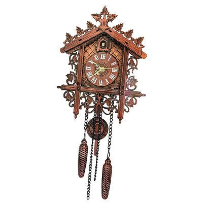 European Vintage Cuckoo Clock w/ Pendulum Hand-carved Wood Wall Clock Room Decor 5