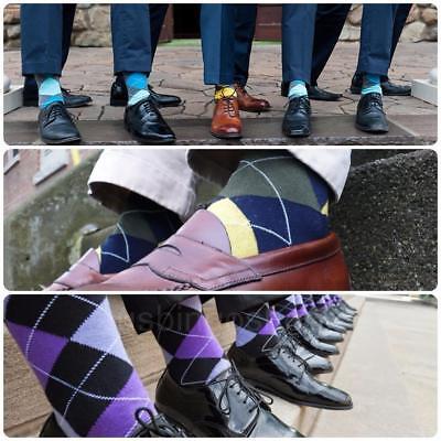 12 Pairs New Cotton Men Argyle Diamond Style Dress Socks Size 10-13 Multi Color 2
