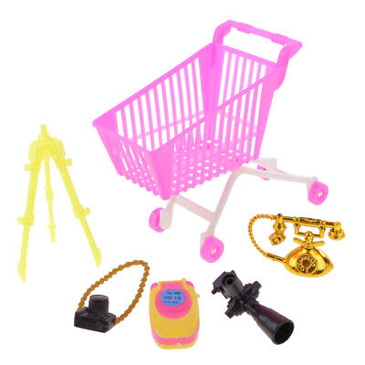 5pc Pink Plastic Supermarket Cart Trolley Set for Doll Kelly Shopping 2