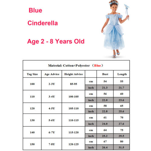 Cinderella Belle Snow White Dress Kids Girls Costume Princess Party Fancy Dress 3