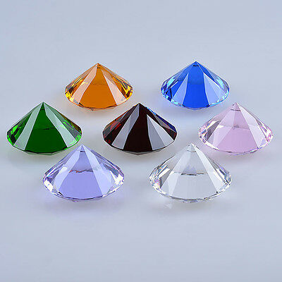 "9 Colors Crystal Paperweight Glass Art Giant Diamond Decor Centerpiece 80mm 3.1"" 3"