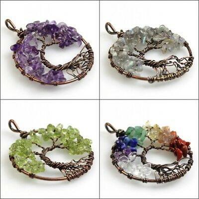 Natural Gemstones Amethyst Garnet Chips Tree of Life Copper Round Pendant 40mm 3