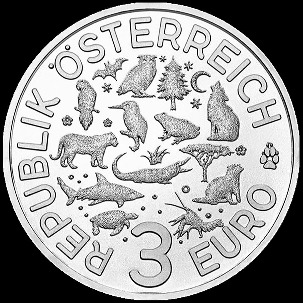 Österreich - 3 Euro - Der Flusskrebs (12.) - Tier-Taler-Serie - 2019 Handgehoben 2