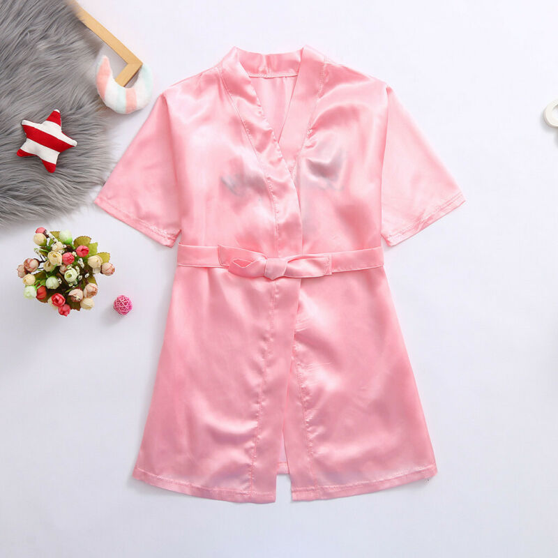 Toddler Baby Kid Girls Satin Kimono Robes Bathrobe Birthday Sleepwear Clothes 5