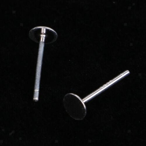 10pc 925 Sterling Silver Blank Ear Stud Pin Earrings Posts Flat Pad 3mm