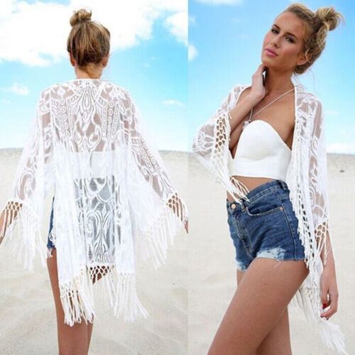 Womens Boho Floral Beach Cover Up Kimono Cardigan Jacket Tops Blouse Shawl 9