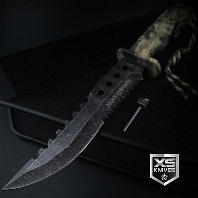 "Tactical STONEWASHED Combat CAMO Bowie Survival FIRE STARTER Hunting Knife 12"" 8"
