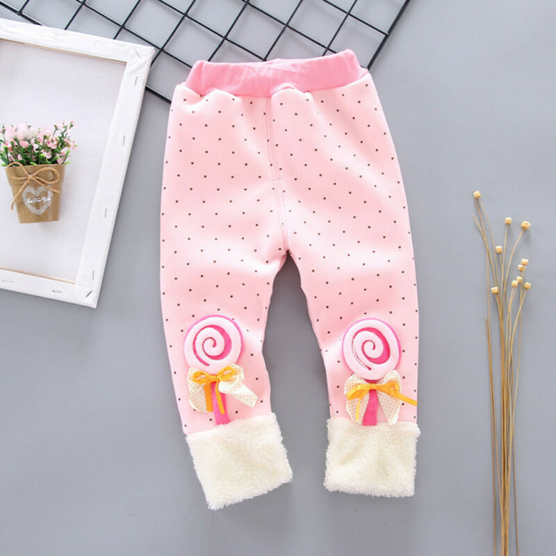 Toddler Baby Girls Dot Candy Thick Warm Pants Trousers Legging Clothes UK 5