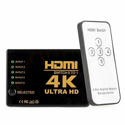 5 Port HDMI Splitter Switch Switcher Hub Box HDTV Ultra HD 4K 60Hz with Remote 5