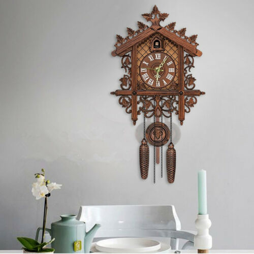 2Pcs Retro Wood Cuckoo Wall Clock with Pendulum Alarm Watch Decorations 3