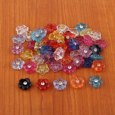 50x Gemischte Knopf Acryl Knöpfe Strass Bastelknöpfe Nähknopf aus Harz für