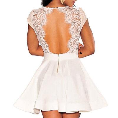 2bfe24e4848e ... Abito donna pizzo nero svasato vestito cerimonia abito bianco elegante  skater 5