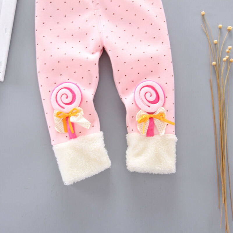 Toddler Baby Girls Dot Candy Thick Warm Pants Trousers Legging Clothes UK 8