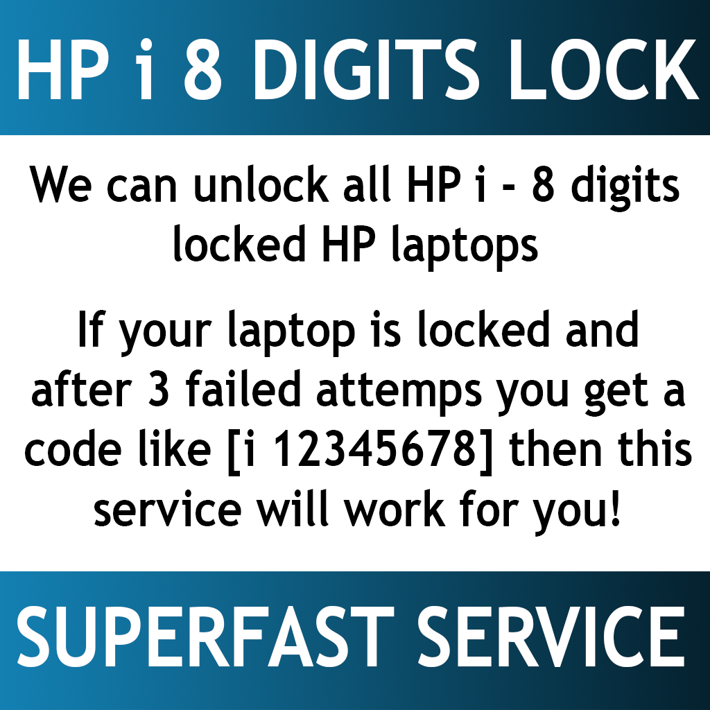 HP BIOS PASSWORD, System Disabled, 8-digit code starting with ( i ), Insyde  bios