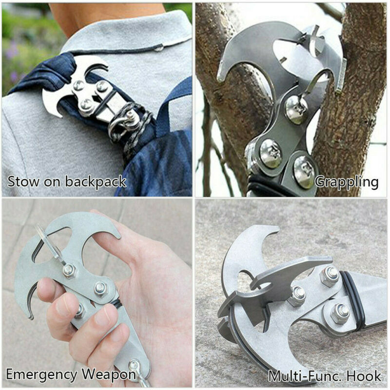 Multifunction Stainless Steel Gravity Hook Foldable Grappling Climbing Claw BIG 6