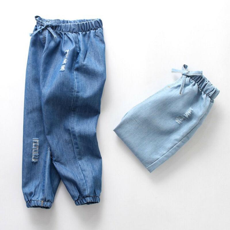 Children Baby Boy Girl Cartoon Hole Denim Long Pants Elastic Waist Jeans Clothes 2