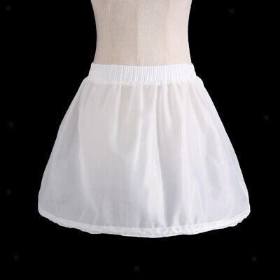 Girls 1 Hoop Tulle Wedding Flower Girl Short Chiffon Petticoat Underskirt 6