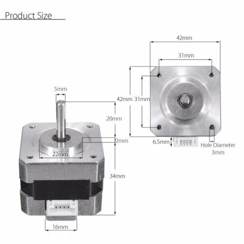 Metal Nema 17 Bipolar Stepper Motor 28N.cm 0.4A 12V 1.8° For CNC/3D Printer 2