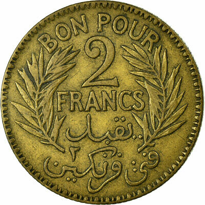 [#457636] Coin, Tunisia, Anonymous, 2 Francs, 1921 2