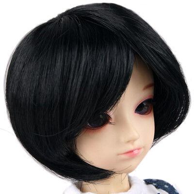 """88# Black Short Straight Hair Wig 1//4 MSD AOD DOD BJD Dollfie 7-8/"""" PF"""