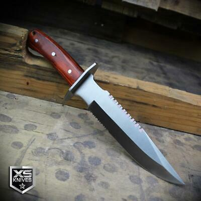 Combat SURVIVAL Hunting Tactical BOWIE Brown Wood Fixed Blade FULL TANG Knife 3