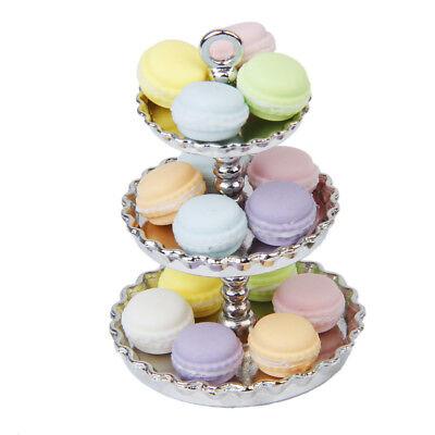 Dollhouse Miniature Metal Dessert Food Fruit Cake Bakery Rack Display Stand Tray 10