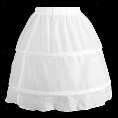 Girls 2 Hoop Tulle Wedding Flower Girl Short Chiffon Petticoat Underskirt 9