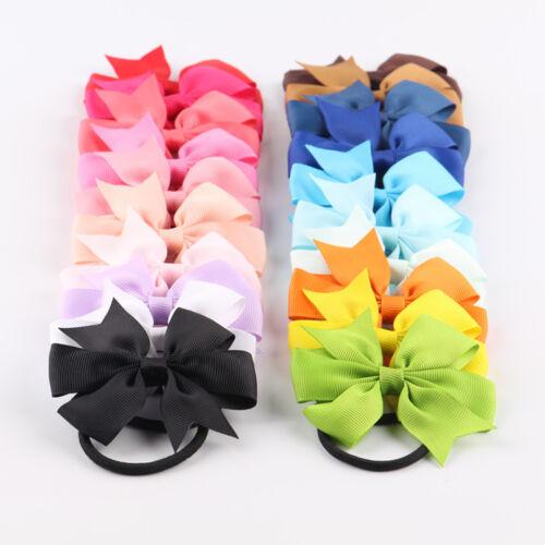 10pcs Girls Hair Band Bow Rope Baby Boutique Grosgrain Ribbon Elastic Headband 2