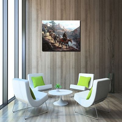 "HD Art Canvas Print Oil Painting ,Western, Travelers, Canyons , 16""x20"" 3"