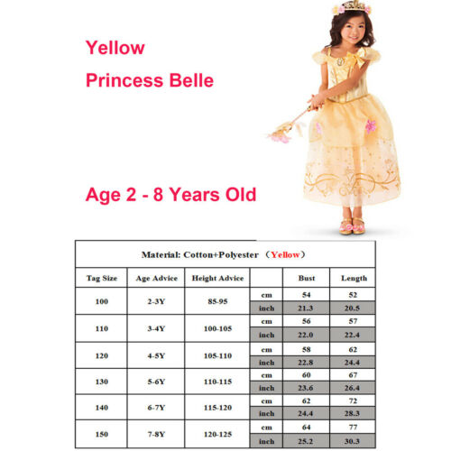 Cinderella Belle Snow White Dress Kids Girls Costume Princess Party Fancy Dress 11