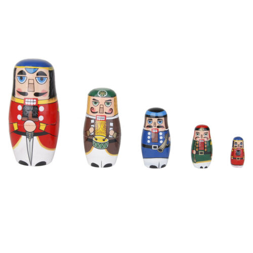Nesting dolls Soldier Military russian matryoshka Hand-painted Signed modern