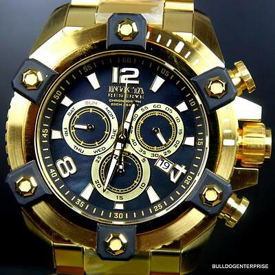 Invicta Reserve Grand Arsenal 63mm Swiss Movt Black MOP Gold Plated Watch New 10