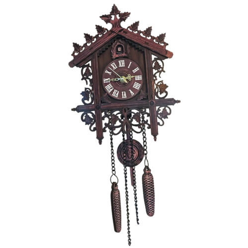 2Pcs Retro Wood Cuckoo Wall Clock with Pendulum Alarm Watch Decorations 12