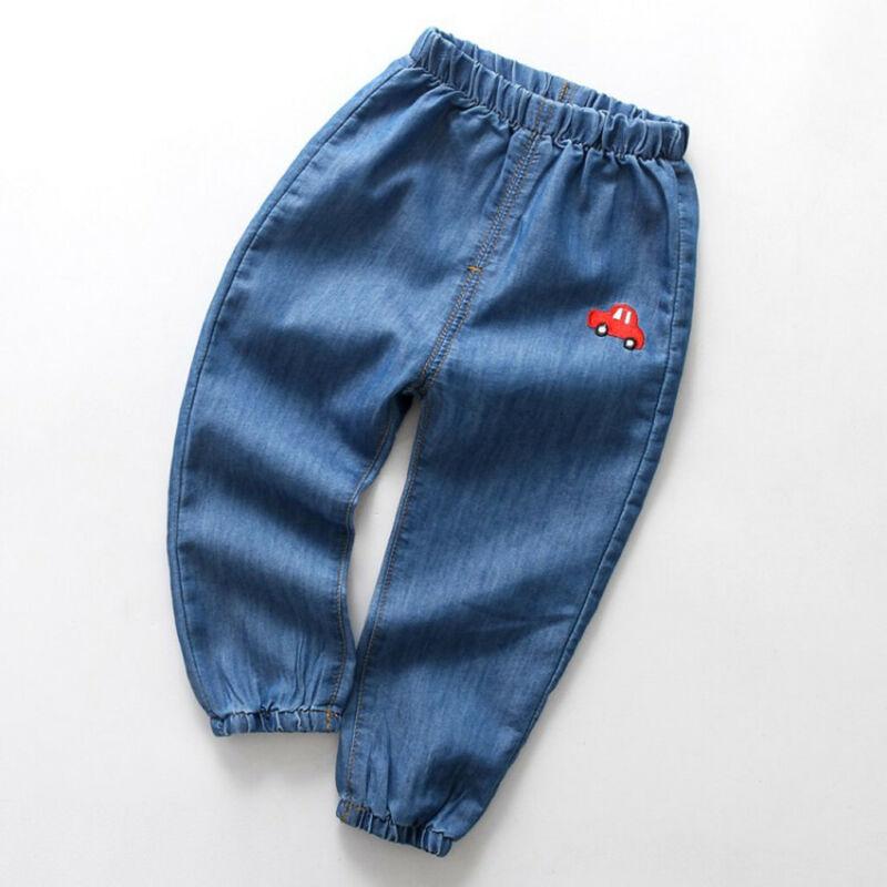 Children Baby Boy Girl Cartoon Hole Denim Long Pants Elastic Waist Jeans Clothes 6