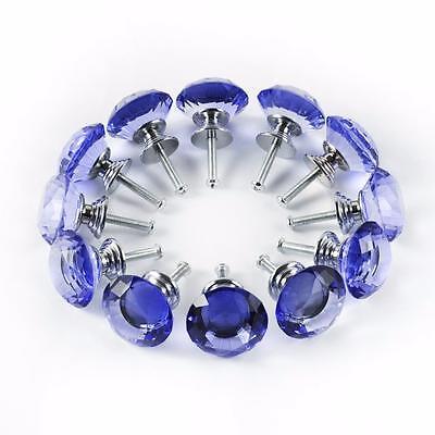 12 BLUE Crystal Glass kitchen Cabinet Knob Cupboard Drawer Dresser Door Chic C-6 2