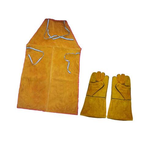 Welder Apron Welding Protective Gear Apparel Cowhide Leather Apron w/ Gloves 8