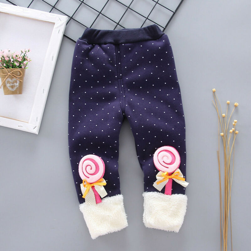 Toddler Baby Girls Dot Candy Thick Warm Pants Trousers Legging Clothes UK 4