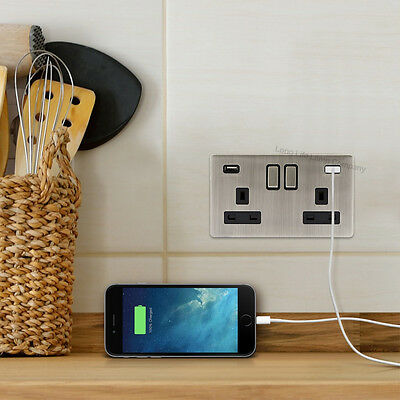 Double Wall Plug Socket 2 Gang 13A with 2 USB Ports Screwless Slim Flat Plate 7