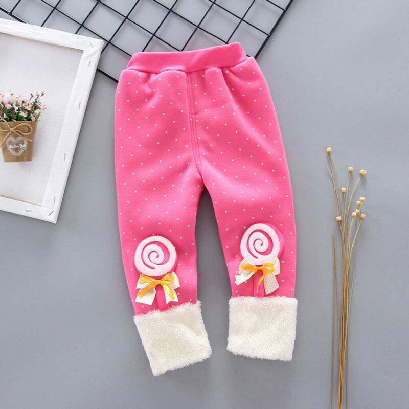 Toddler Baby Girls Dot Candy Thick Warm Pants Trousers Legging Clothes UK 3