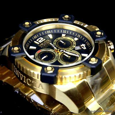 Invicta Reserve Grand Arsenal 63mm Swiss Movt Black MOP Gold Plated Watch New 6