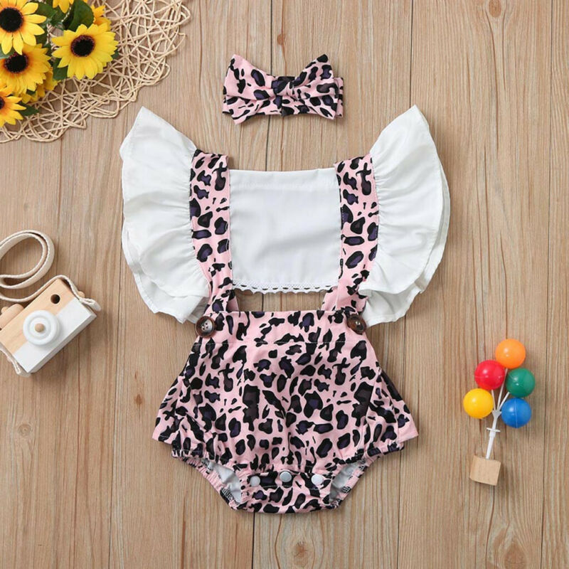 US Newborn Baby Girl Ruffle Romper Bodysuit Jumpsuit Headband Clothes Outfits