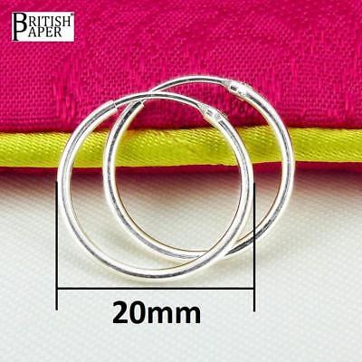 Girls 925 Sterling Silver 8mm -20mm Small Tiny Hinged Hoop Sleeper Earrings Pair 8