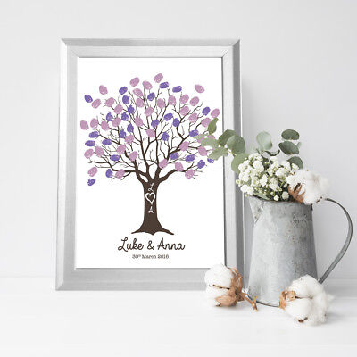 PERSONALISED WEDDING FINGERPRINT Tree Guest Book Frame Large A1 A2 ...