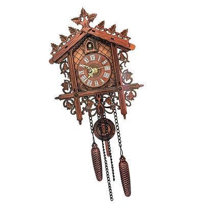 European Vintage Cuckoo Clock w/ Pendulum Hand-carved Wood Wall Clock Room Decor 10