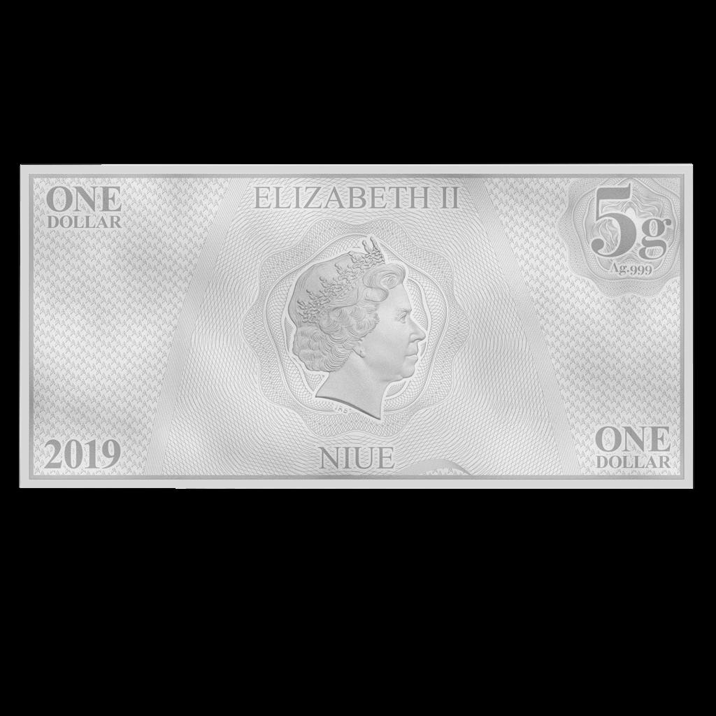 Niue - 1 Dollar 2019 - Star Trek™ - Worf™ (2.) - Münznote - 5 gr Silber ST 3